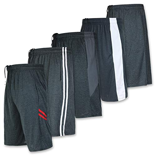 (Mens Dry Fit Active Athletic Performance Basketball Tennis Soccer Running Essentials Gym Workout Tech Shorts-Set 9-5 Pack, XX-Large)