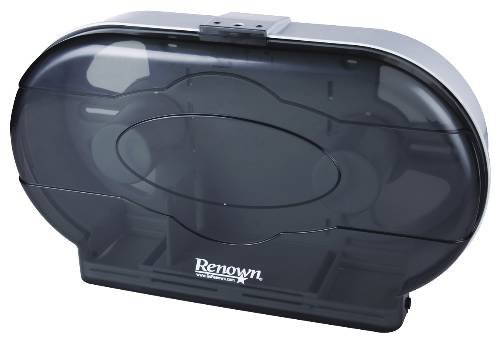 Renown REN05150-IB Toilet Tissue Dispenser, Twin Jr Jumbo, Black