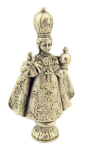 Catholic Saints Silver Tone Infant of Prague Pocket Statue with Gold Stamped Prayer Card, 1 1/2 Inch
