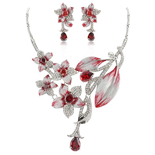 (EVER FAITH Hibiscus Leaf Necklace Earrings Set Cubic Zirconia Crystal Silver-Tone -)