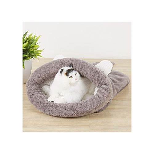(Cute Shape Cat Sleeping Bag Warm Comfortable Puppy Pet Bed Winter Cushion Mat for Small Dogs Soft Fleece Rabbit House 3 Colors,Gray,50X40Cm)