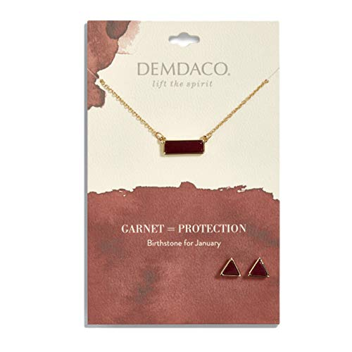 DEMDACO January Garnet Women's Natural Stone Gold-Plated Birthstone Necklace & Earrings Set ()