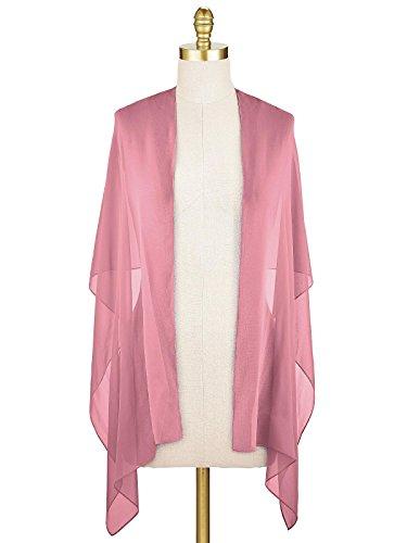 SlenyuBridal Women's Long Chiffon Shawl Scarf Accessory for Prom Evening Dress Beach Wrap Blush Free Size from SlenyuBridal