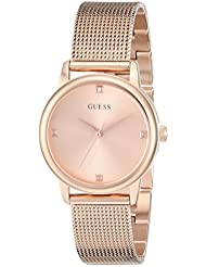 GUESS Womens Stainless Steel Diamond Dial Mesh Bracelet Watch, Color: Rose Gold-Tone (Model: U0532L3)