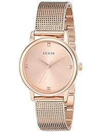 GUESS Women's U0532L3 Rose Gold-Tone Mesh Watch with Genuine Diamond Markers & Self-Adjustable Bracelet