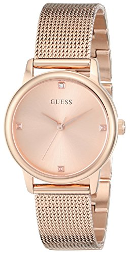 GUESS Women's Stainless Steel Diamond Dial Mesh Bracelet Watch, Color Rose Gold-Tone (Model: U0532L3) (Guess Steel Bracelet)