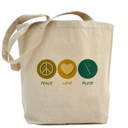 CafePress diseño de símbolo de la Paz amor flauta–Gamuza de bolsa de lona bolsa, bolsa de la compra