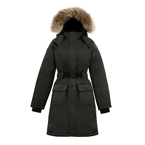 Triple F.A.T. Goose SAGA Collection | Estelle Womens Hooded Goose Down Jacket Parka with Real Coyote Fur (XS, Olive)