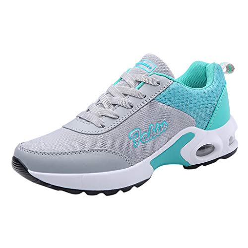 WILLBE Women Sneakers Lightweight Air Cushion Gym Fashion Shoes Breathable Walking Running Athletic Sport Running Shoes Grey