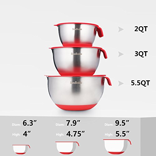 SveBake Mixing Bowls - Stainless Steel Mixing Bowl Set with Handles, Pour Spouts, Non-Slip Base and Graters, Set of 3, Red by SveBake (Image #1)