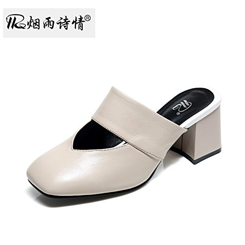 Baotou Donna Pantofole Donna I Metà Pantofole Da Tacchi Estate Da Scarpe Scarpe KPHY Secondo Tacchi Forte Beige v8ZqHw7q0