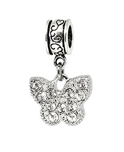 J&M Dangle Butterfly with Crystals Charm Bead