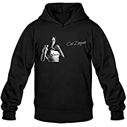 MARY Men's American Cat Zingano Fighting Poster Hooded Sweatshirt Black