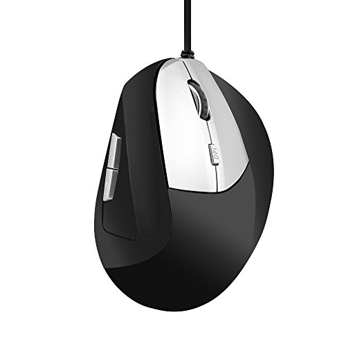 Ergonomic Vertical Optical Mouse USB Wired Mouse Office Gaming Corded Mice 800/1000/1200/1600 DPI 6 Buttons for PC Laptop Computer for Right Hand Stress Relieving (Silver) (Relieving Mouse Stress)