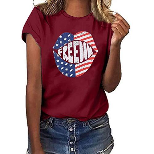YEZIJIN Women Girls Plus Size Lips Print Shirt Short Sleeve T Shirt Blouse Tops 2019 Under 10 Dollars Wine