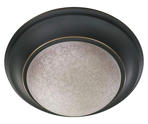 Two Light Old World Etruscan W/Amber Accent Glass Bowl Flush Mount ()