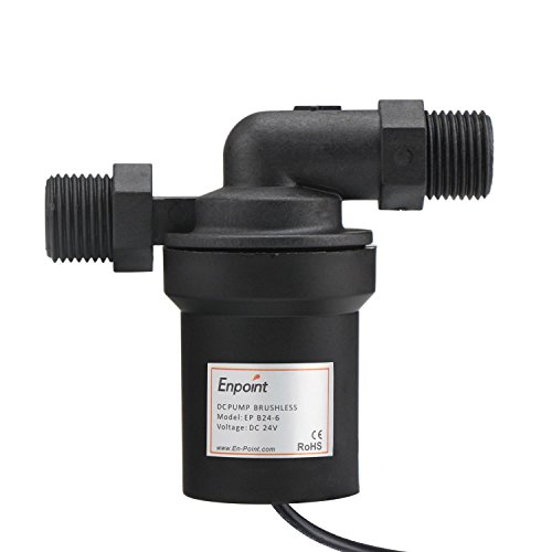 24V Circulation Pump, EnPoint Ultra Quiet Solar Hot Water Circulation Pump Ceramic Core Brushless Motor DC 24V 6M Head 12LPM 3.2GPM Discharge Low Noise for Water Cycle Solar Mattress Heater Fountain