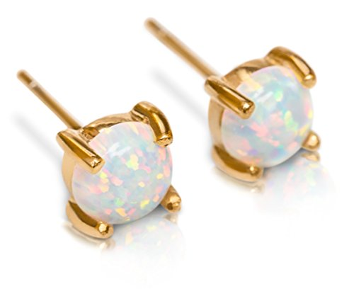 Stud Earrings Opal Studs - Hypoallergenic 14k Gold Dipped 6mm White Fire Round Opals Womens Stainless Steel Earring Pair Celebrity ()
