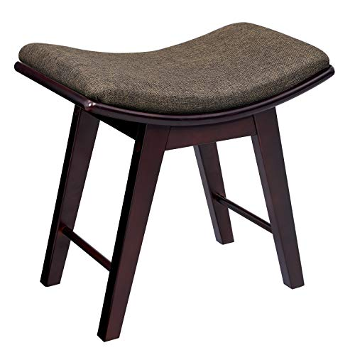 SONGMICS Vanity Stool, Modern Makeup Dressing Stool with Concave Seat Surface, Padded Bench with Rubberwood Legs, Capacity 286lb, Easy Assembly, Brown URDS51BR
