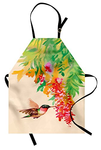 Ambesonne Hummingbird Apron, Image of Colibri Bird and Flowers Exotic Tree Bloom in Watercolor Effect, Unisex Kitchen Bib Apron with Adjustable Neck for Cooking Baking Gardening, Beige Green -