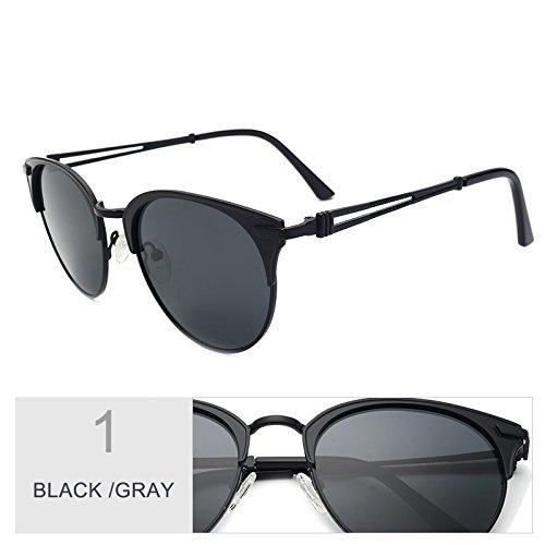 de Marco gafas Ojo de Brown mujer aleación sol de de oro mujer Gray de lente Gafas Black Polaroid TL Sunglasses Gato UV400 de Atrás zqEZX