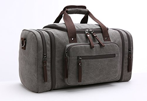 Aidonger Unisex Canvas Travel Bag Duffel Bag Weekend Bag with Strap (Gray)