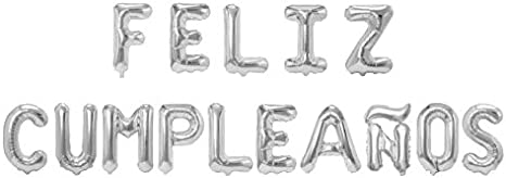 Feliz Cumpleaños 16 Inch Letter Foil Mylar Balloon Banner Kit by Zeylo Party Supply, Silver