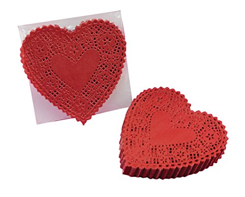 School Smart Heart Shaped Paper Lace Doilies - 6 inch - Pack of 100 - Red
