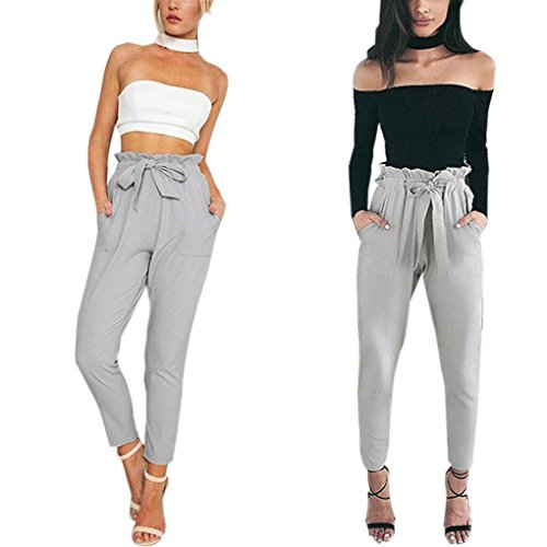Price comparison product image Kshion Women Skinny Long Pants Casual High Waist Stretch Slim Pencil Trousers (S,  Gray)