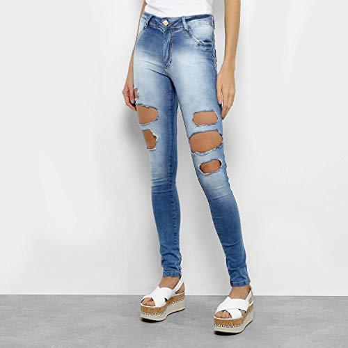 Calça Jeans Cigarrete Biotipo Cintura Média Feminina - Azul - 42