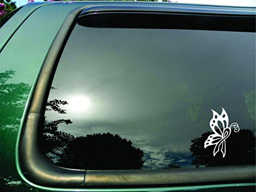 Butterfly Ribbon White Lung Cancer - Die Cut Vinyl Window Decal/sticker for Car or Truck 3.5