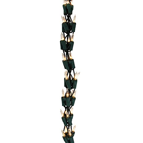 """This 300 clear light, 9' Garland Light Set on green wire provides a great way to decorate banisters, railings, doorways, etc. Measures 9 foot long and 2"""" wide. For indoor use only."""