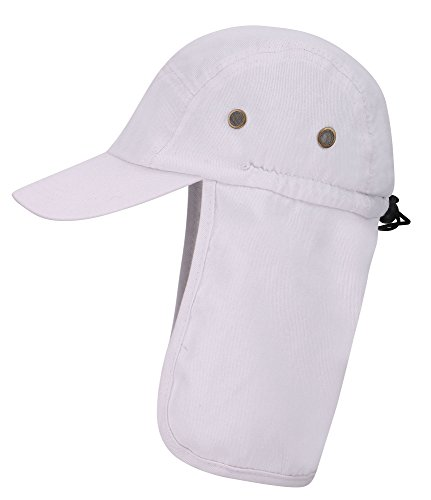 Men Women Fishing Cap With Ear Neck Flap Cover Sun Protective Safari Hat, White