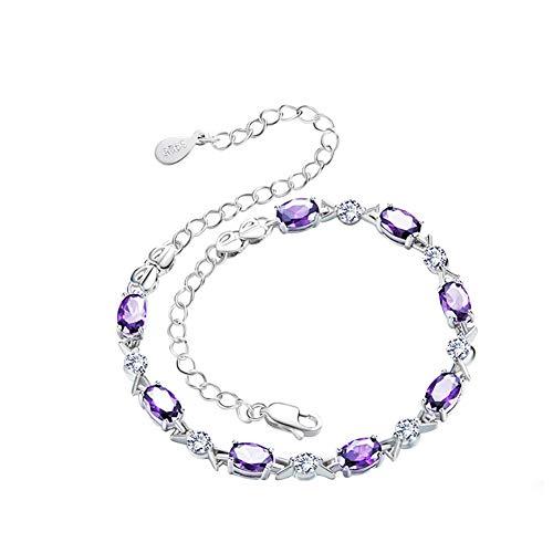 Silver Show Quality Mosaic (WOFEIYL Women's Bracelet 925 Sterling Silver Small Fresh Zircon Amethyst Student Women's Accessories)