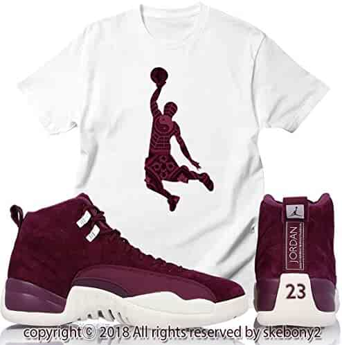 innovative design 9377a cdff0 Custom T Shirt Air Jordan XII Retro 12 Bordeaux Sail White JD 12-7-