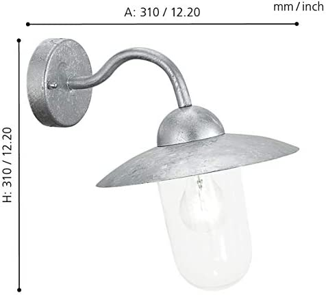Eglo Milton 88489 Outside Wall Light in Galvanised Steel and Clear Glass HV 1x E27 Max. 60 W (Bulb Not Included) / IP44 Protection/Height 31 cm/Protrusion 31 cm