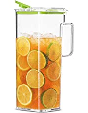 Komax Large Water Pitcher with Lid | 77-oz (2.4-quart) Water Carafe | Iced Tea Pitcher Suitable for Water, Tea, Juice, Lemonade | Space Saving Shape, Leakproof, Premium BPA-Free Plastic Pitcher
