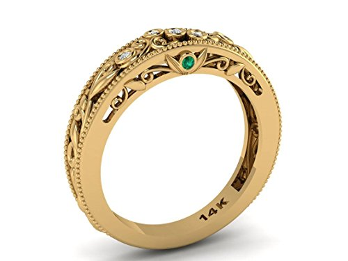 Emerald and Diamonds Wedding Band, 14k Yellow Gold Wedding ring, Leaf Vine scroll bands 14k Yellow Gold Scroll