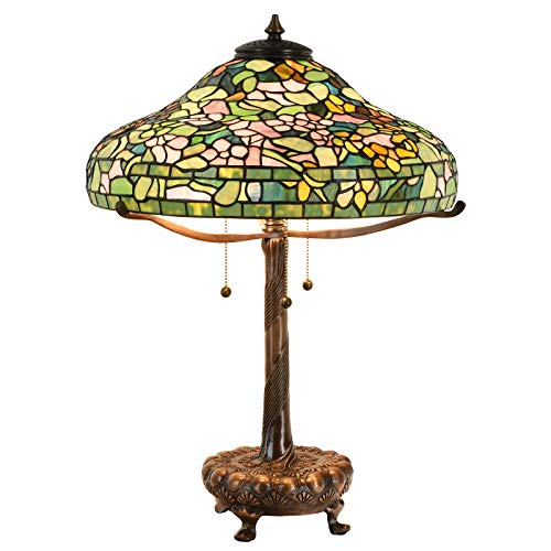 Bieye L10670 24 inches Dogwood Tiffany Style Table Lamp Base with Decorated Library Base Made of Brass