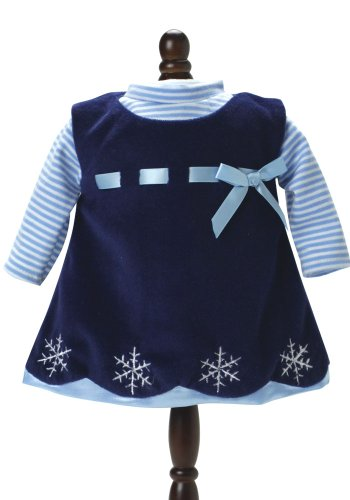15 Inch Doll Clothing Outfit 2 Pc. Set of Navy Snowflake Dress & Blue Striped Shirt by Sophia's. Fits 15 Inch American Bitty Baby Girl Dolls & More! Baby Doll Clothes Navy Dress/Blue Striped Shirt | Gift Bag Included