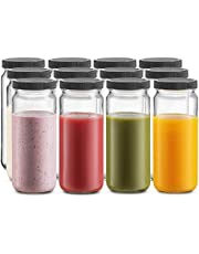 Glass Travel Drinking Mason Jar Water Bottle 16 Ounce with BPA-Free Plastic Airtight Lids, Reusable Glass Cup for Homemade Beverages, Smoothies, Juice, Infused Water, Kombucha, Milk Bottles