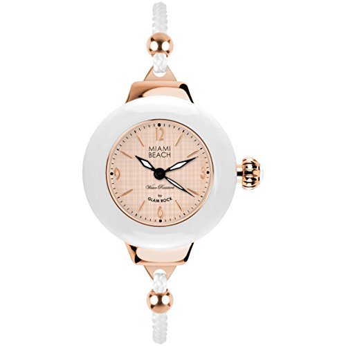 Glam Rock Miami Beach Art Deco collection MBD27186 36mm Stainless Steel Case White Nylon Mineral Women's Watch