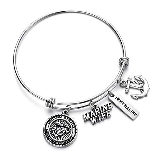 (US Marine Wife Jewelry Gifts Expandable Wire Bangle I Love My Marine Charm Bracelet)