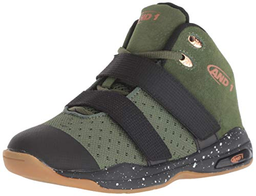 AND 1 Boys' Chosen One II Sneaker, Olive drab/Black/Copper, Wide US Big Kid
