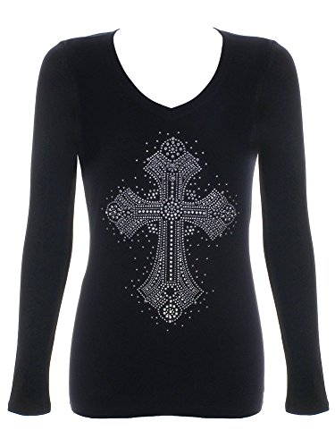 Women's Fancy Cross Rhinestone Bling V-Neck Black T-Shirt Small