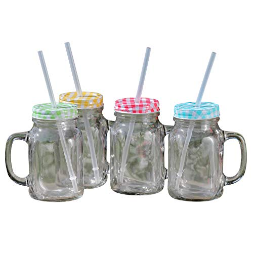 WHW Whole House Worlds Americana Heritage Home Mason Jar Mugs 4 Piece Set, Handles, Plus Lids, and Reusable Straws, Rustic Multi-Color Tops, (16.9 Fluid ounces/500 ml)
