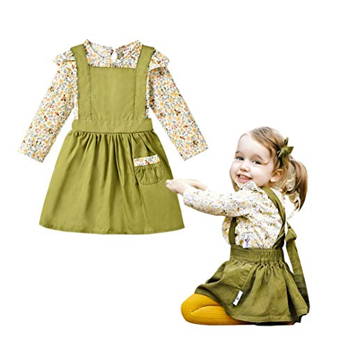 Unistylo 2PCS Girl Toddler Clothes Floral Suspenders Pant Set,Baby Girls Clothes Long Sleeve Shirt+Sleeve Overalls (6-12 Months, Army Green)