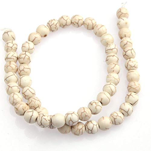 10mm Round White Howlite Turquoise Beads Loose Gemstone Beads for Jewelry Making Strand 15 Inch (38-40pcs)