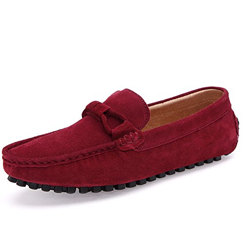 Go Tour Mocasines Clásicos De Gamuza Mocasines Casual Slip On Driving Zapatos Rojo 41