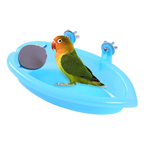QBLEEV Bird Baths Tub with MirrorFor Cage, Parrot Birdbath Shower Accessories, Bird Cage Hanging Bath Bathing Box for Small Birds Parrots ()